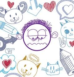 Hand drawn cartoon sad boy education theme graphic vector