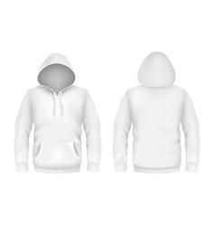 Hoodie sweatshirt white 3d realistic mockup vector
