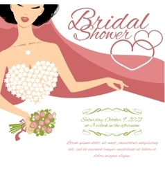 Invitation card with bride holding flowers vector