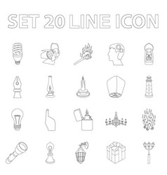light source outline icons in set collection for vector image vector image