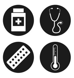 Medical icons set in circle button vector