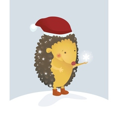 Merry Christmas hedgehog vector image vector image