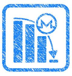 Monero falling acceleration graph framed stamp vector