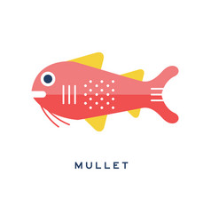 Mullet sea fish geometric flat style design vector