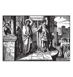 Pilate brings jesus before the people and they vector