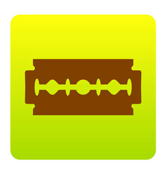 Razor blade sign brown icon at green vector