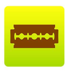 razor blade sign brown icon at green vector image