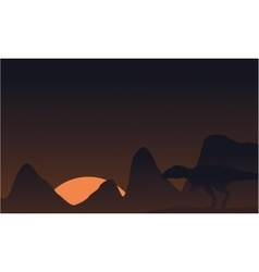 Silhouette of mapusaurus on brown sky landscape vector image