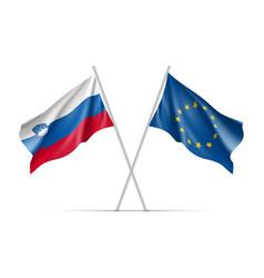 Slovenia and european union waving flags vector