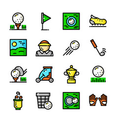 Thin line golf icons set vector