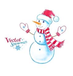 Watercolor snowman vector image vector image