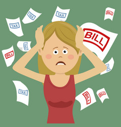 Young desperate woman with bills and tax vector