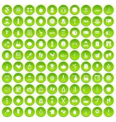 100 beauty product icons set green circle vector