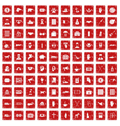 100 donation icons set grunge red vector