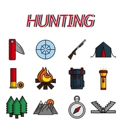 Hunting flat icons set vector