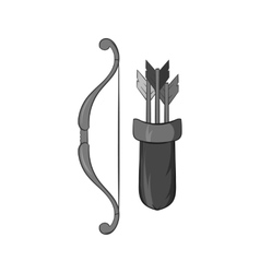 Bow and arrow icon black monochrome style vector