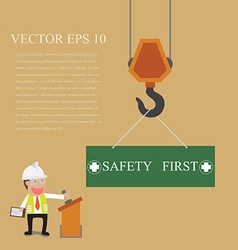 Businessman control crane hanging with safety sign vector