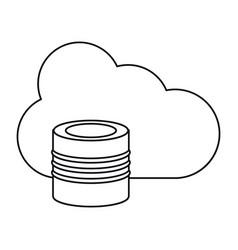 Cloud data base technology thin line vector