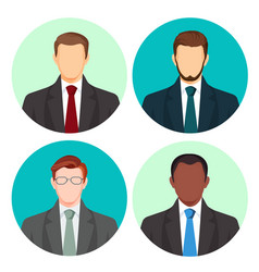 Businessman avatar four pictures set on vector