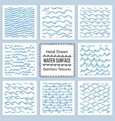 Set of hand drawn textures of water surface vector