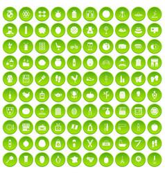 100 beauty product icons set green circle vector