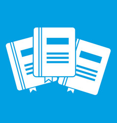 Three books with bookmarks icon white vector