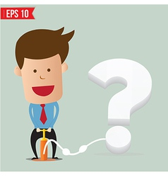 Cartoon business man pumping question balloon vector