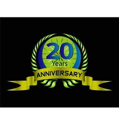 20 years anniversary green label with ribbon vector