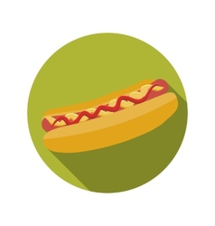 Flat Design Concept Hot Dog With Long Shadow vector image