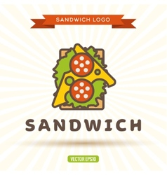 Sandwich with cheese sausage salad logo vector