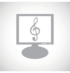 Music grey monitor icon vector