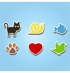 Color icons with pets vector