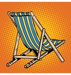 Deck chair striped blue beach lounger vector