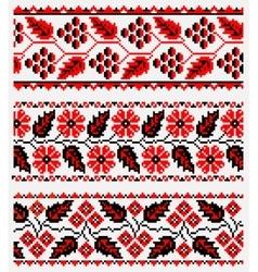 Set of ukrainian ethnic embroidery vector