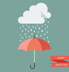 Cloud with rain drop on umbrella vector