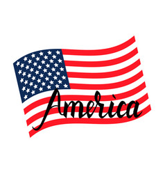 american flag with inscription brush america vector image vector image