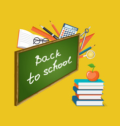 banner back to school with books and apple vector image
