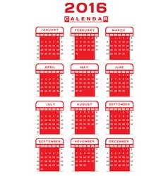 Calendar 2016 design vector