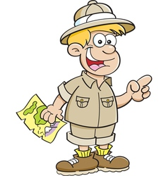 Cartoon boy holding a map and pointing vector image