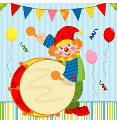 clown playing the drum vector image vector image