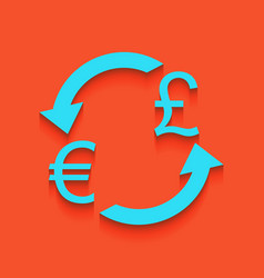 Currency exchange sign euro and uk pound vector