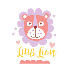Cute cartoon little lion colorful hand drawn vector