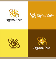 digital coin vector image vector image