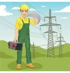 Electrician man near high voltage power lines vector
