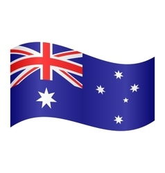 Flag of Australia waving on white background vector image