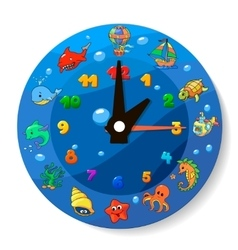 Funny cartoon clock for kids vector image vector image