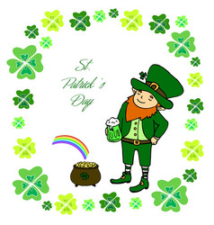 funny little leprechaun with a mug of green beer vector image