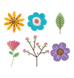 Garden flowers decorative icon vector