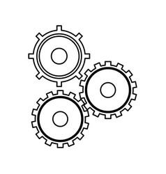 Gears cogs teamwork outline vector