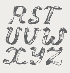 Ink alphabet r to z freehand stylish in raster vector